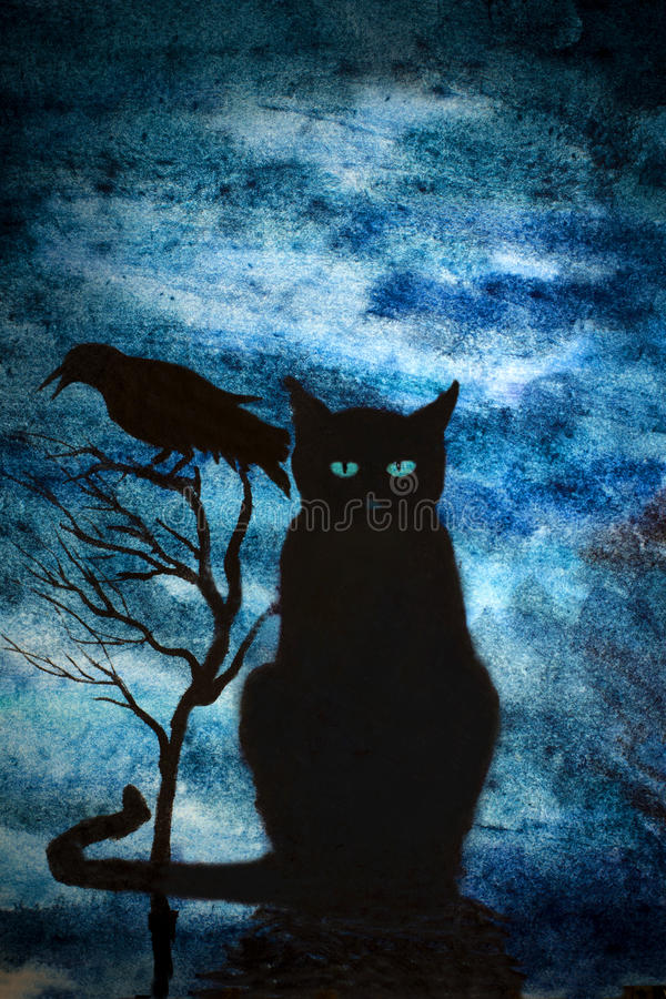 Black cat and crows vector illustration