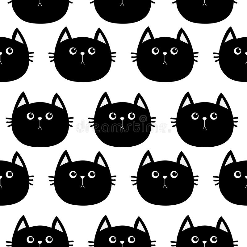 Black Cat. Cute Cartoon Character. Baby Pet Collection. Seamless ...