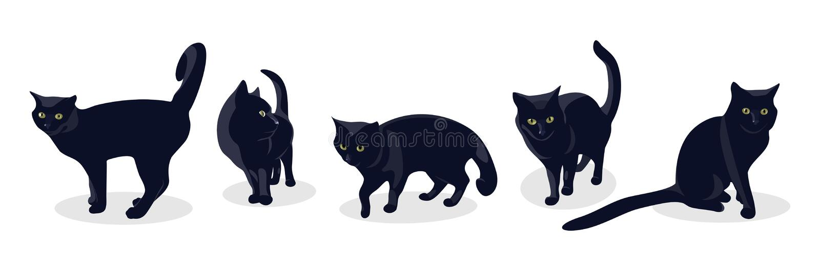 Black cat in different poses, isolated on white background. royalty free illustration