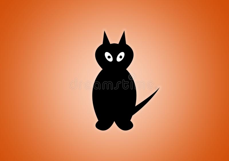 Black cat digitally illustrated on orange background. For Halloween use as wallpaper stock illustration