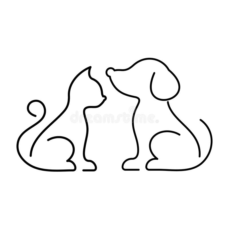 Black cat and dog icons royalty free illustration