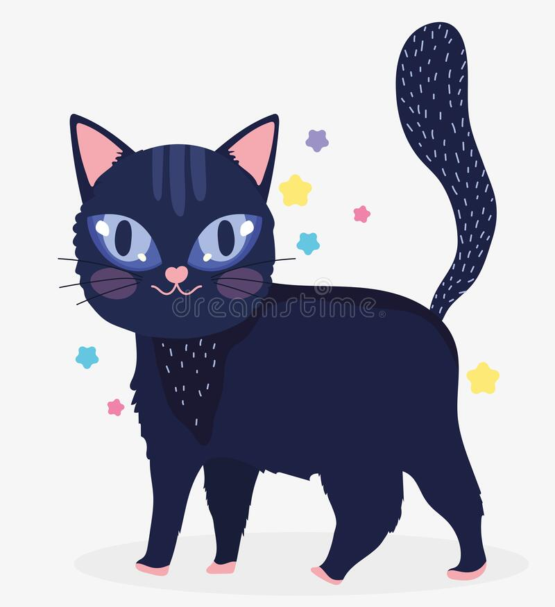 Black cat with eye shine domestic cartoon animal, cats pets. Vector illustration royalty free illustration