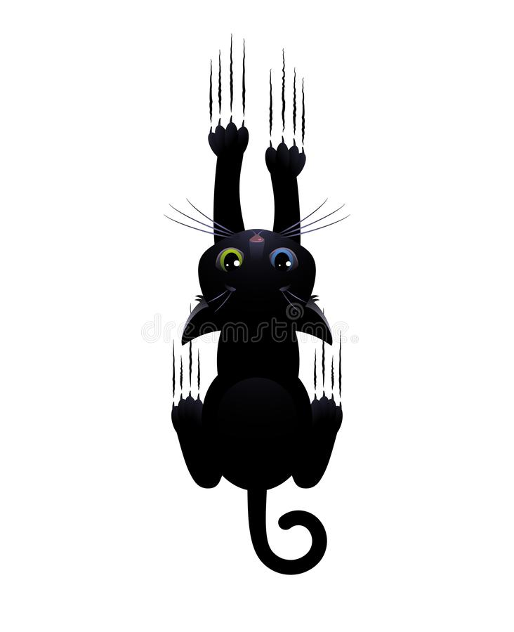 Black cat scratches white background. Cute cartoon character vector illustration