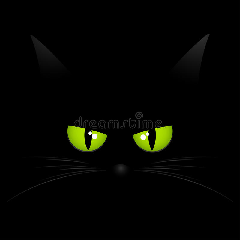 Black cat face background. Face of black cat with bright green eyes and whiskers on a black background stock illustration