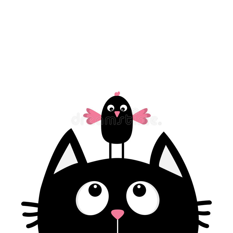 Black cat face head silhouette looking up to funny bird. Cute cartoon character. stock illustration