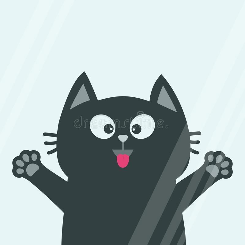Black cat face head, tongue paw print silhouette licks window glass. Adopt me. Cute cartoon character. Help animal Pet adoption Fl stock illustration