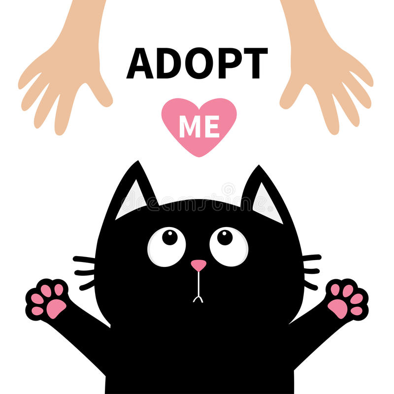 Black cat face looking up to human hand, paw print hug. Cute cartoon funny character. Kawaii animal. Adopt me. Pink heart. Helping royalty free illustration