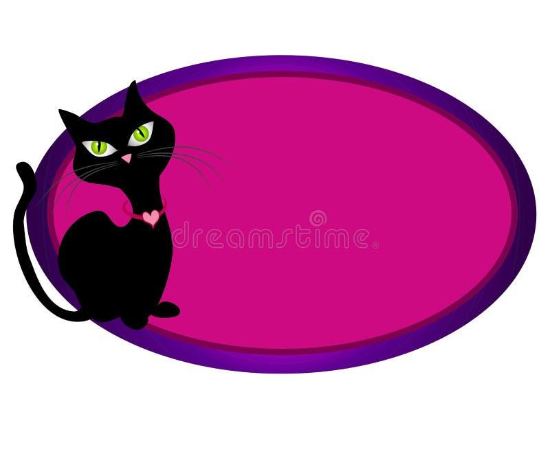 Black Cat Feline Oval Web Logo stock illustration