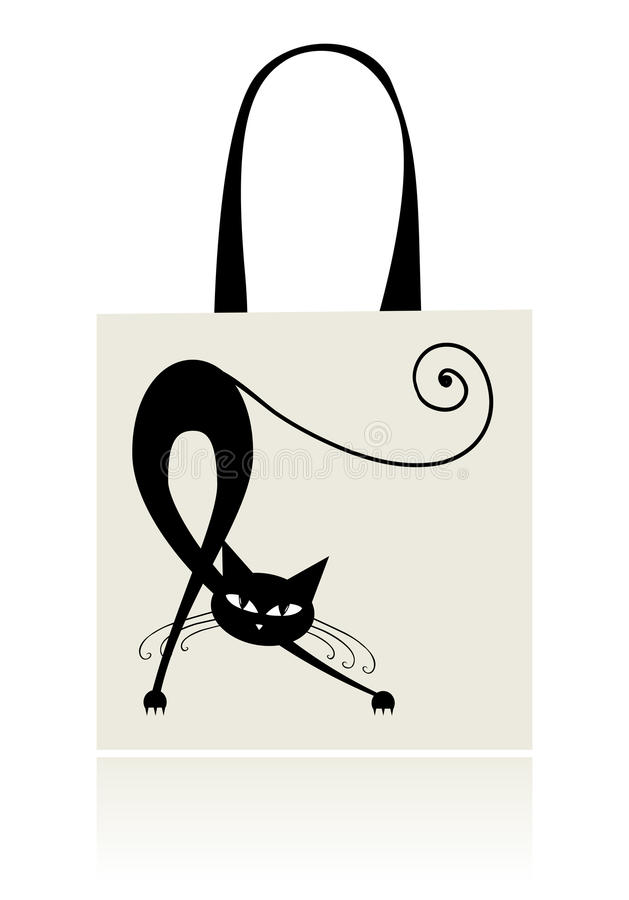 Black cat graceful, design of shopping bag royalty free stock images