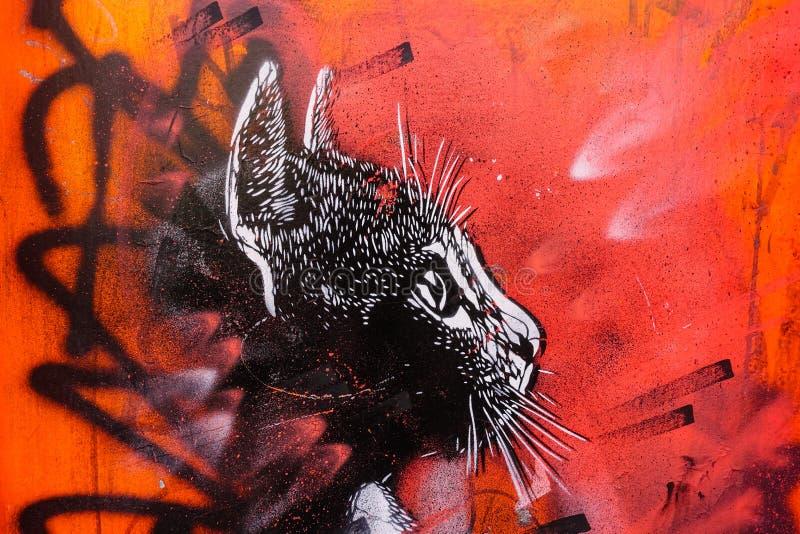 Black Cat Graffiti, London UK royalty free stock images