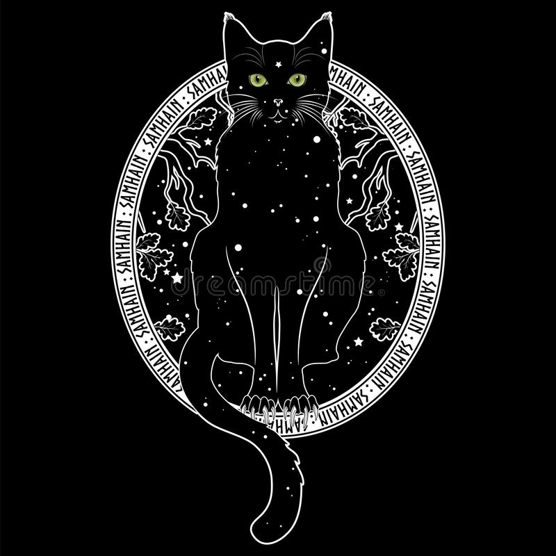 Black cat with green eyes on the background of the night starry sky and autumn oak branches. Black and white design. Isolated on black, vector illustration vector illustration