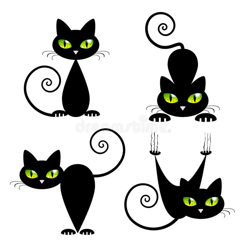 Black Cat with Green Eyes vector illustration