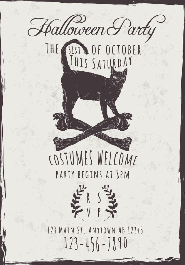 Black Cat Halloween Party Invitation. Vector Halloween Party Invitation with black cat and bones stock illustration