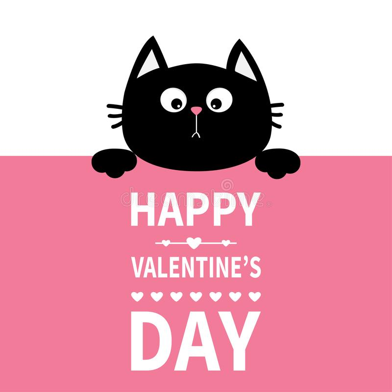 Free Black Cat Hanging On Board Signboard. Cute Cartoon Funny Kitten Kitty Hiding Behind Paper. Happy Valentines Day. Calligraphy Lette Stock Photos - 107862693