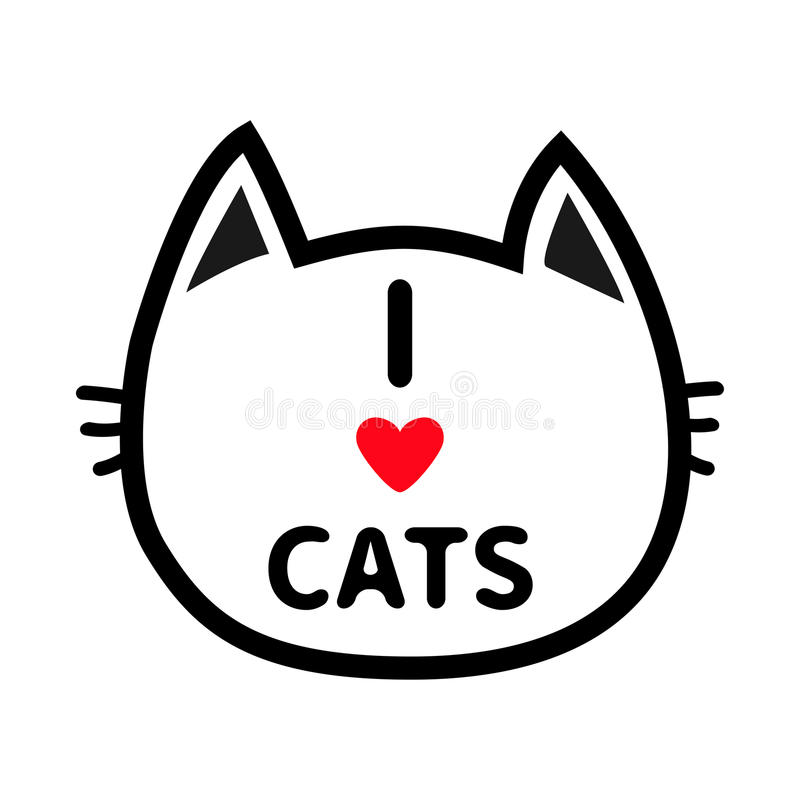 Black cat head face contour silhouette icon. Line pictogram. Cute funny cartoon character. I love cats heart Text lettering. Kitty. Kitten whisker Baby pet stock illustration