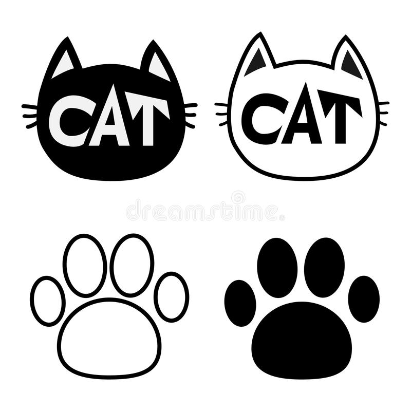 Black cat head face contour silhouette icon set. Line pictogram. Empty temlate. Paw print track. Cute funny cartoon character. Kit. Ty kitten whisker Baby pet vector illustration