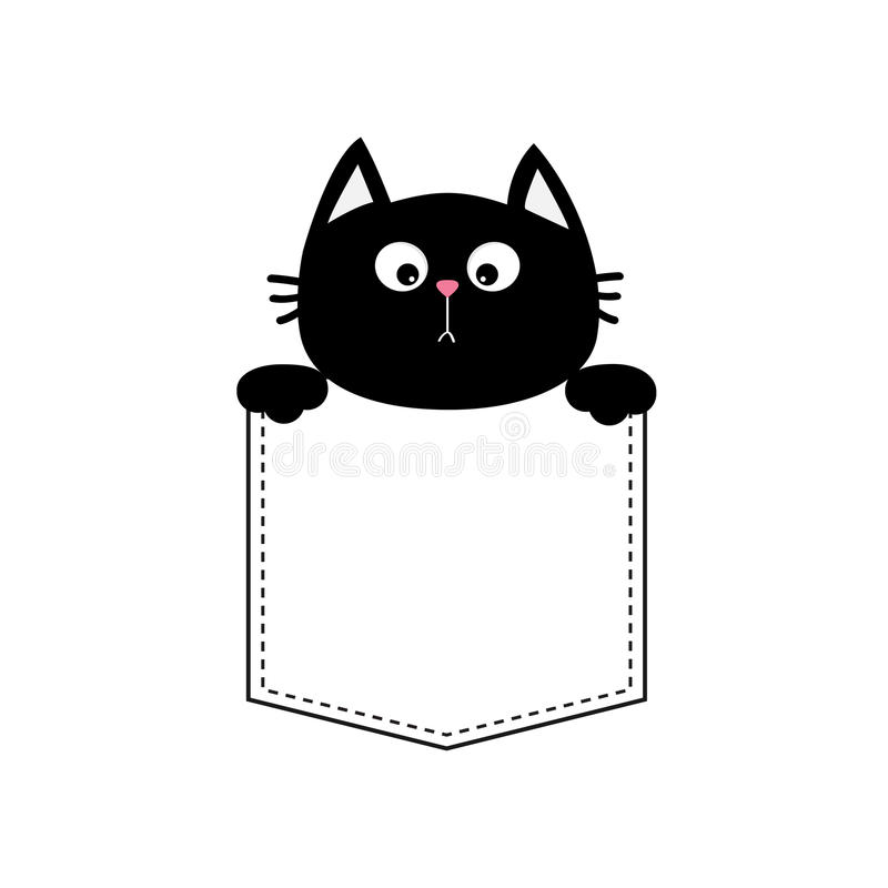 Free Black Cat Head Face In The Pocket Holding Hands. T-shirt Design. Funny Baby Card. Cute Cartoon Character Kitten Pet Collection Fla Stock Photo - 88182370