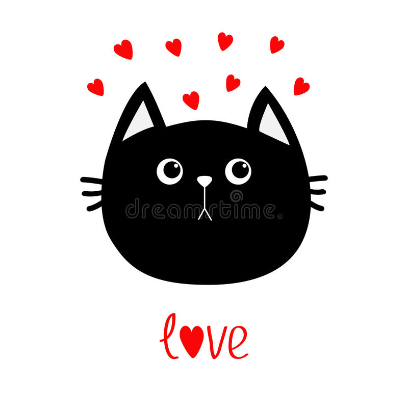 Black cat head icon. Red heart set. Cute funny cartoon character. Valentines day Word love Greeting card. Sad emotion. Kitty Whisk vector illustration