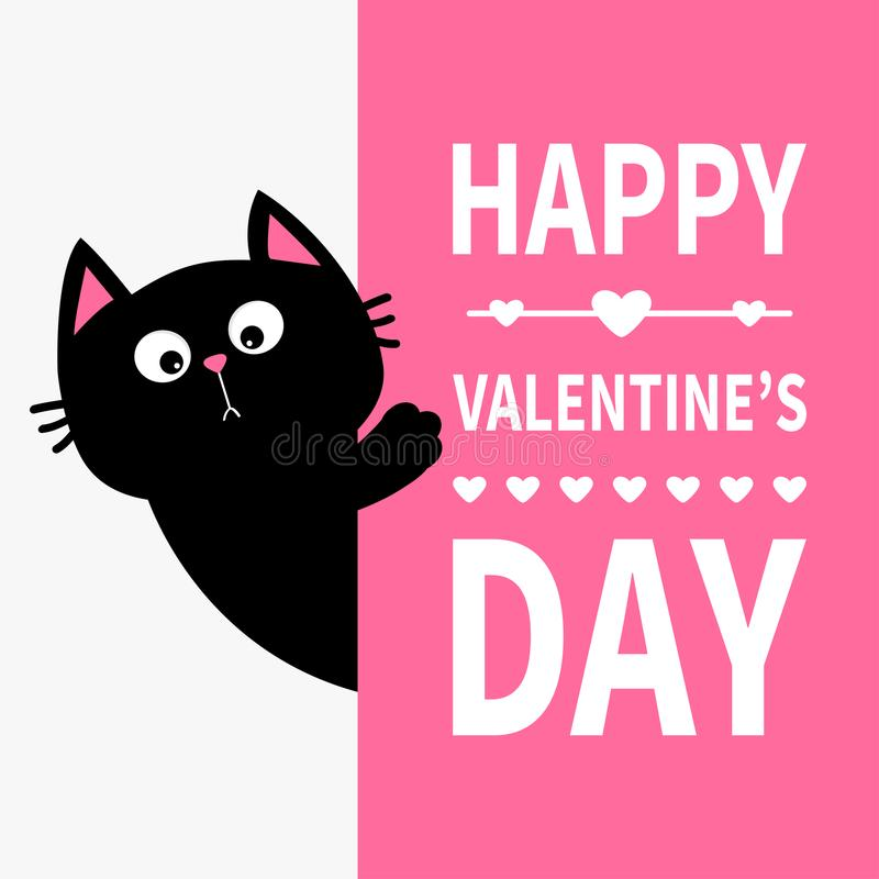 Free Black Cat Holding Big Signboard. Cute Cartoon Funny Kitten Kitty Hiding Behind Paper. Happy Valentines Day Calligraphy Lettering T Stock Photos - 107786903