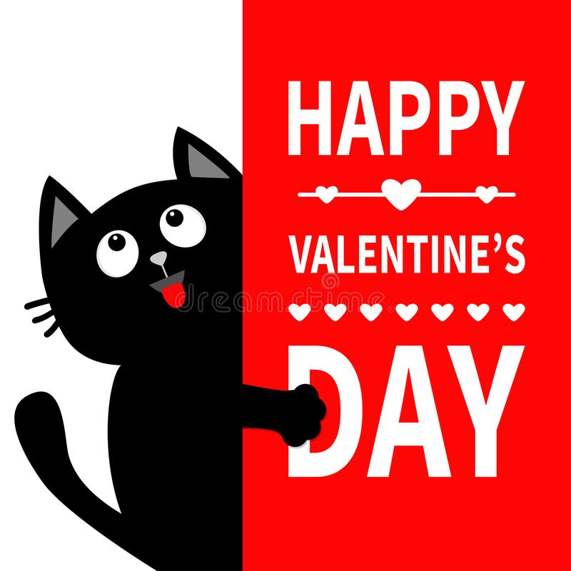 Free Black Cat Holding Big Signboard. Looking Up. Cute Cartoon Funny Kitten Kitty Hiding Behind Paper. Valentines Day Calligraphy Lette Stock Photo - 108016400