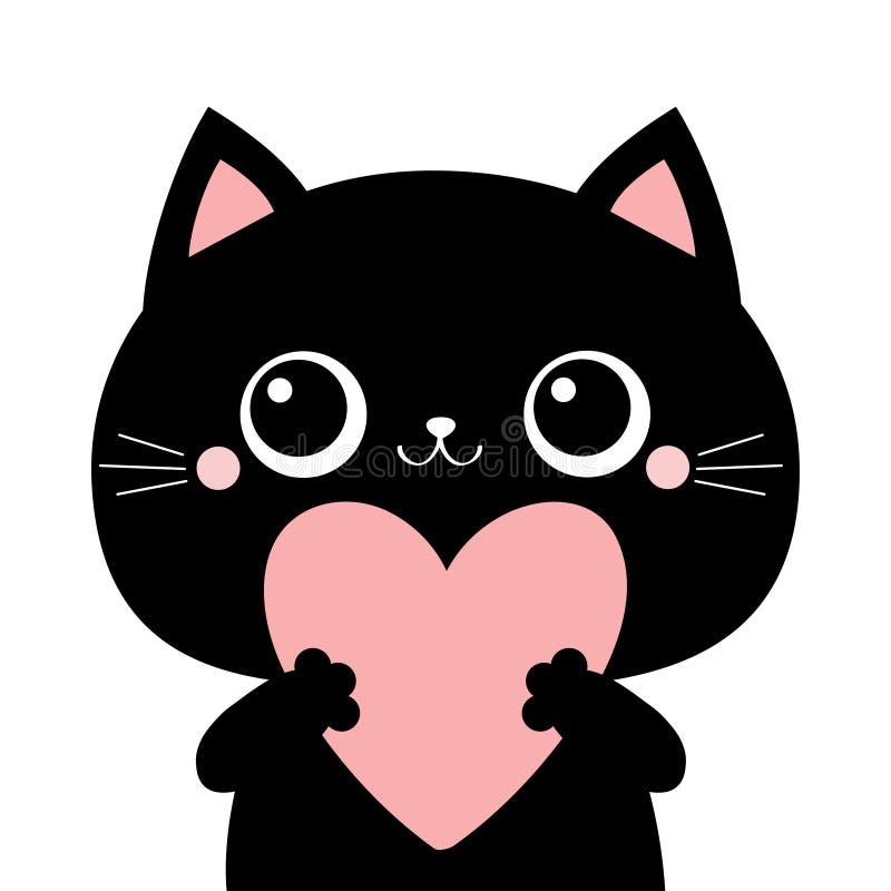 Free Black Cat Kitten Kitty Head Face Holding Big Pink Heart. Happy Valentines Day. Cute Cartoon Kawaii Funny Animal Character. Flat Stock Photo - 170791170
