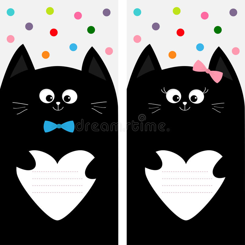 Download Black Cat Kitty Family Holding Empty Heart Shape Paper. Poster  Notebook Cover Composition Book