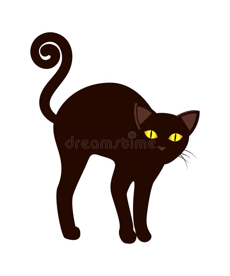 Black Cat With Long Tail Symbol Halloween Vector Stock Vector