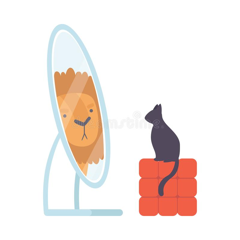 Free Black Cat Looking At Mirror Pretend To Be Lion Vector Illustration Stock Photos - 152298693