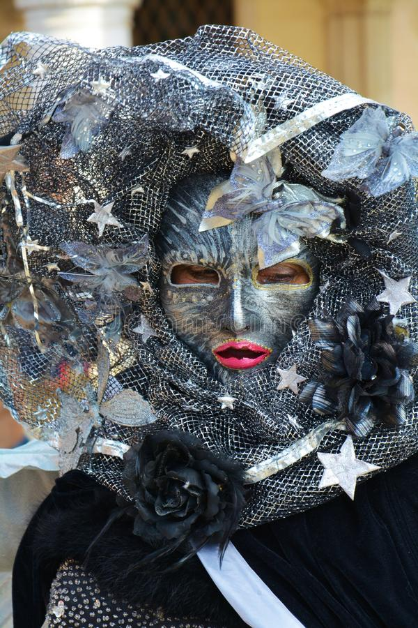 Black cat mask, Venice, Italy, Europe stock image