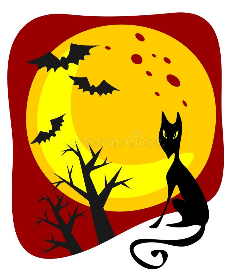 Black Cat And Moon Royalty Free Stock Photo