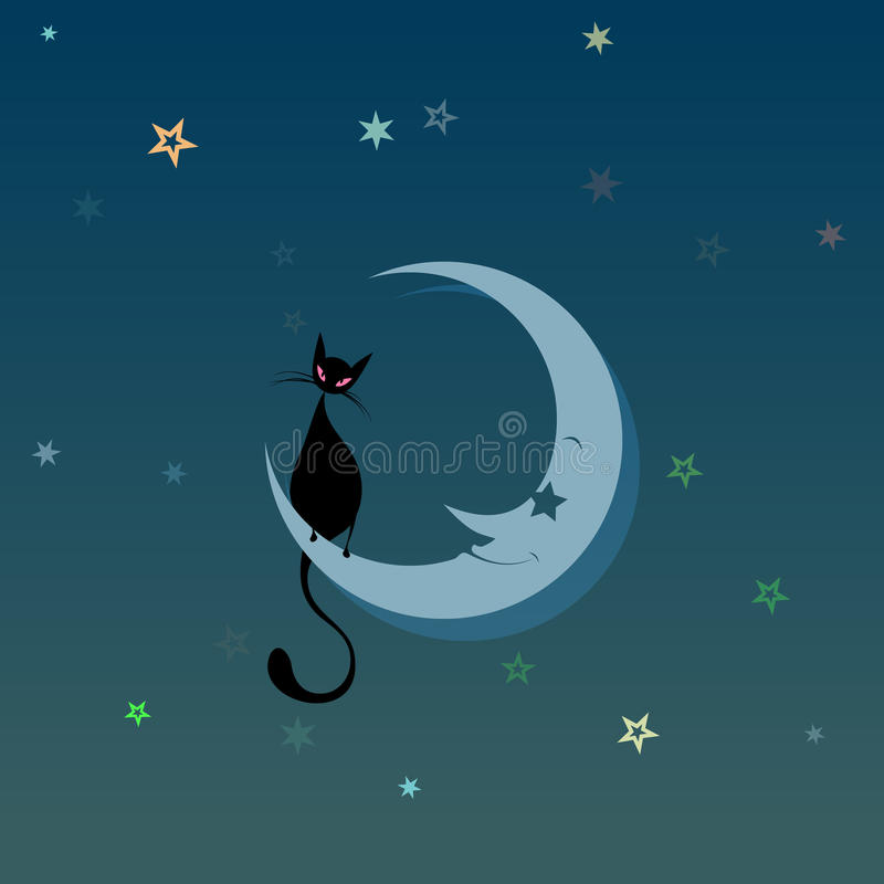 Download Black Cat on the Moon stock vector. Image of illustration - 40209017