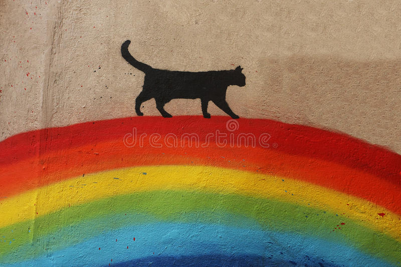 Black cat over the rainbow royalty free stock photo