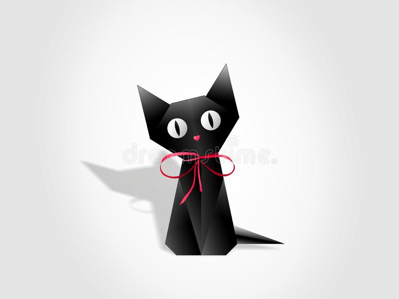 Black cat paper origami on white background. Black cat vector of triangles paper and cardboard. Art of design, geometry and origami. Can be used as an vector illustration