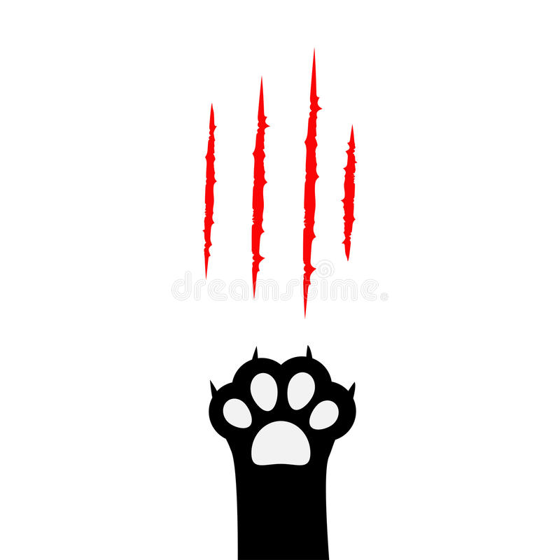 Black cat paw print leg foot. Bloody claws scratching animal red scratch scrape track. Cute cartoon character body part silhouette stock illustration