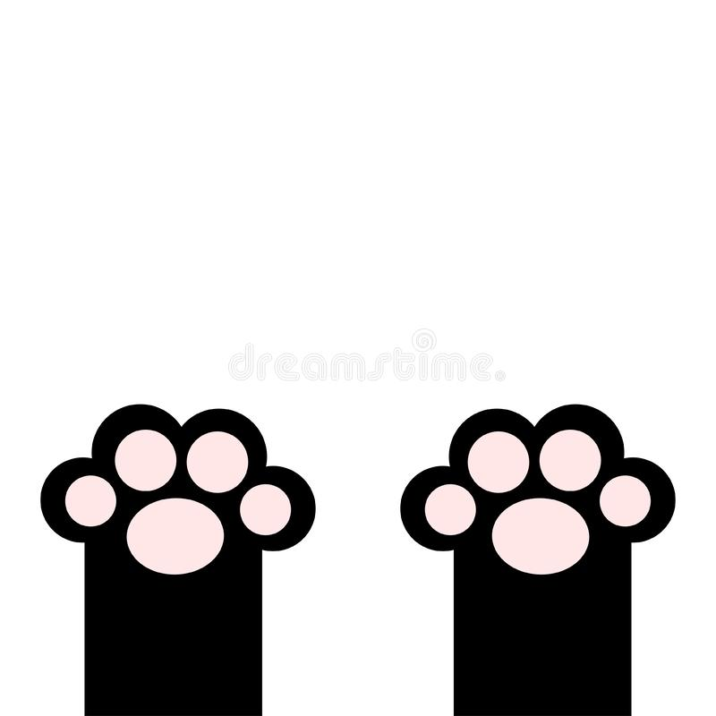 Black cat paw print leg foot with pink pads. Cute cartoon kawaii funny character body part silhouette. Baby pet collection Flat. Design. White background vector illustration