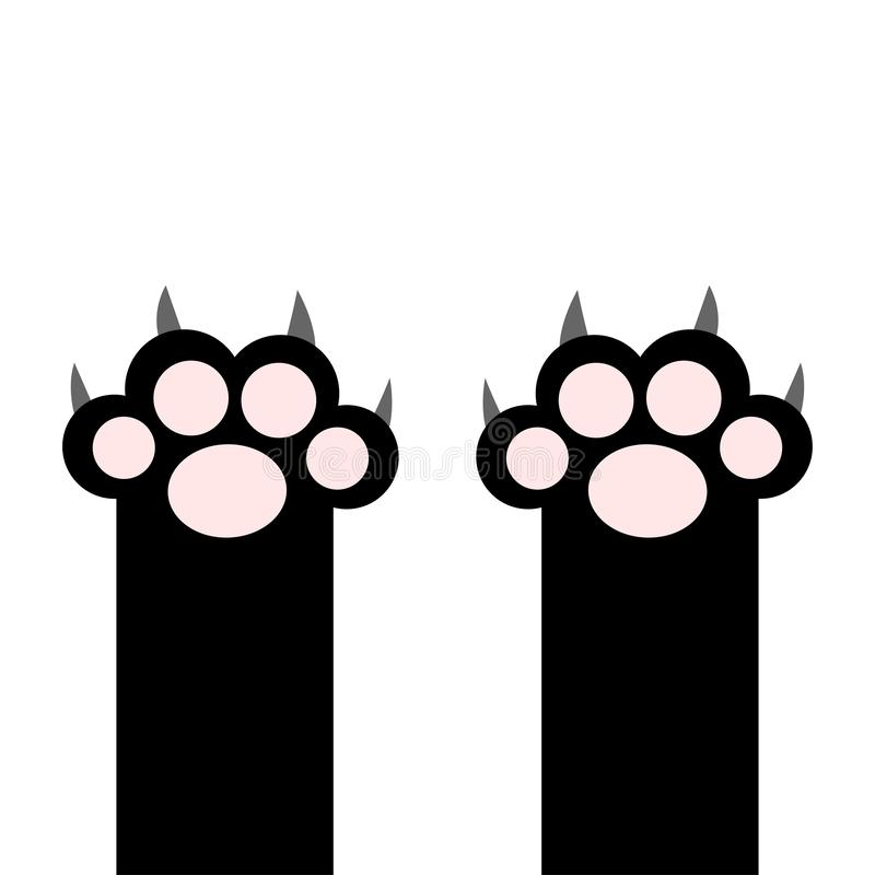 Black cat paw print pads leg foot with scratching claw nail set. Cute cartoon kawaii funny character body part silhouette. Baby. Pet collection Flat design royalty free illustration