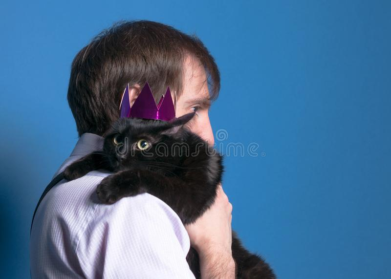Cat in pink shiny crown sitting on man sholder with extended paws on blue background. Black cat in pink shiny crown sitting on man sholder with extended paws on royalty free stock images