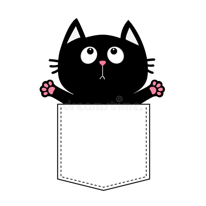 Black cat in the pocket ready for a hugging. T-shirt design. Open hand paw print. Kitty reaching for a hug. Funny Baby card. Cute. Black cat in the pocket ready vector illustration