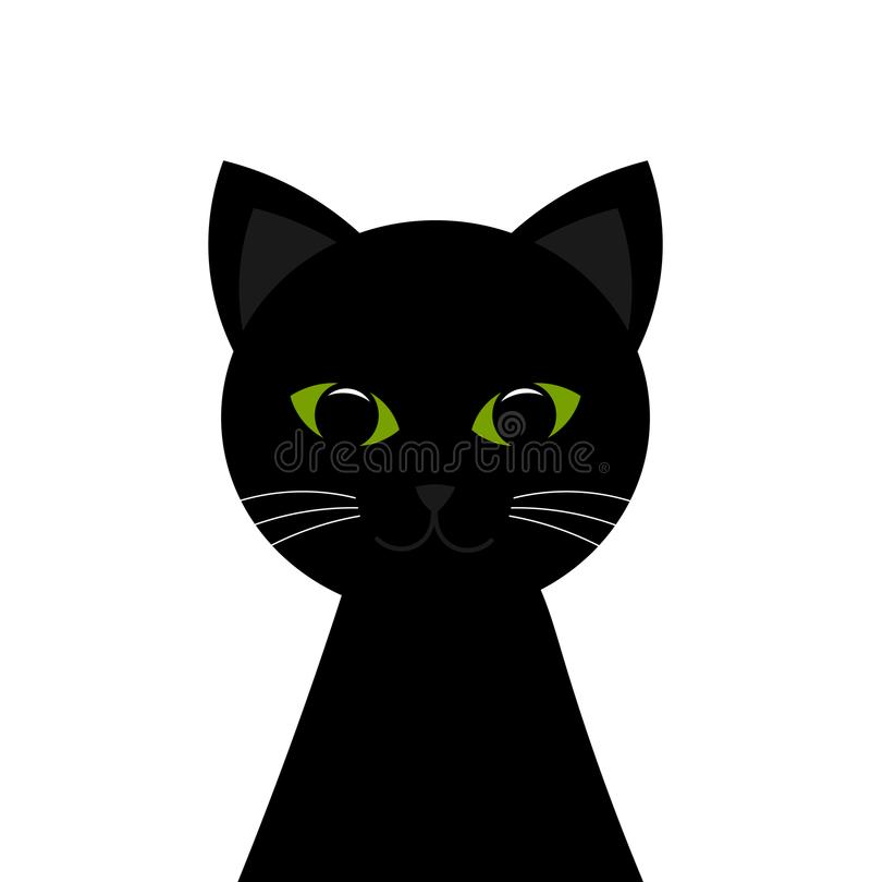 Black cat portrait stock illustration