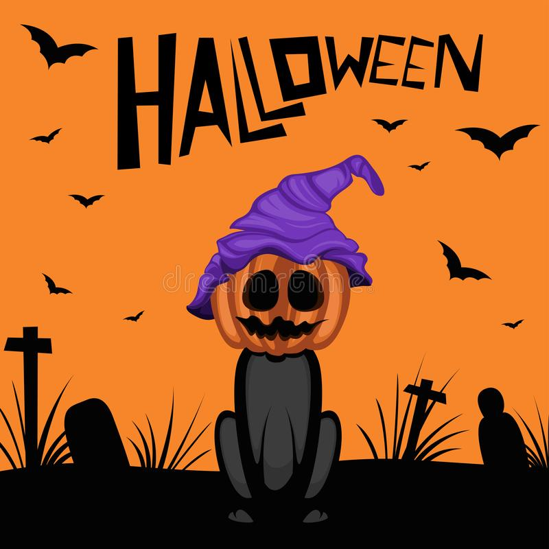 Black cat with pumpkin of Halloween day on night. stock illustration