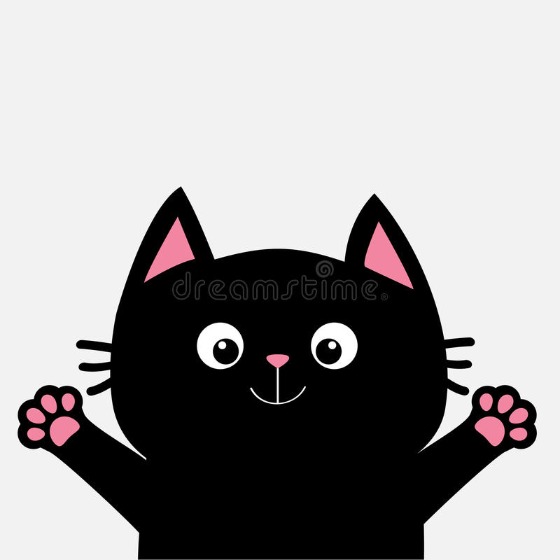 Download Black Cat Ready For A Hugging. Open Hand Pink Paw Print. Kitty  Reaching
