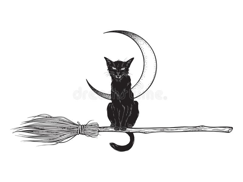 Black cat rides the broom magic vehicle of the witch hand drawn ink style boho chic sticker, patch, flash tattoo or print design. Vector illustration royalty free illustration