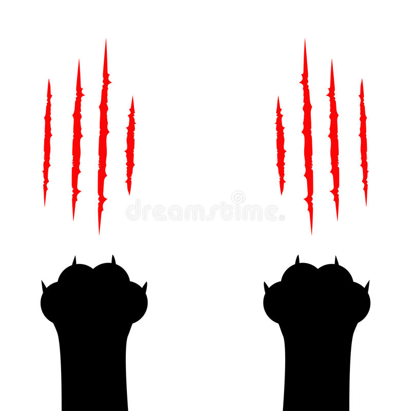 Free Black Cat Scratching Paw Print Leg Foot. Bloody Claws Animal Red Scratch Scrape Track. Cute Cartoon Character Body Part Silhouette Royalty Free Stock Photo - 85420175