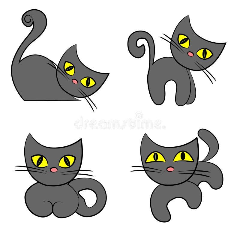 Black Cat Set. Cartoon Pet Collection Royalty Free Stock Photography