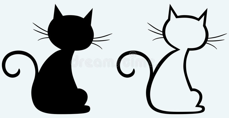 Black cat silhouette. Vector set: black cat silhouette