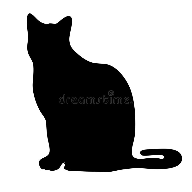 Black cat silhouette. Isolated on white background stock illustration
