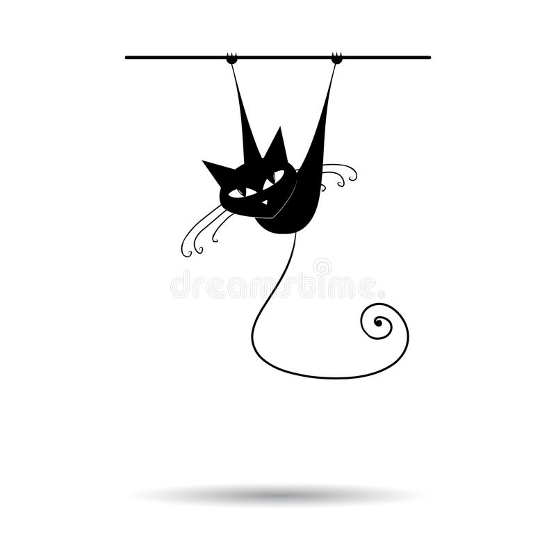 Black cat silhouette for your design stock images