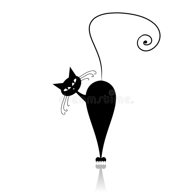 Black cat silhouette for your design royalty free stock images