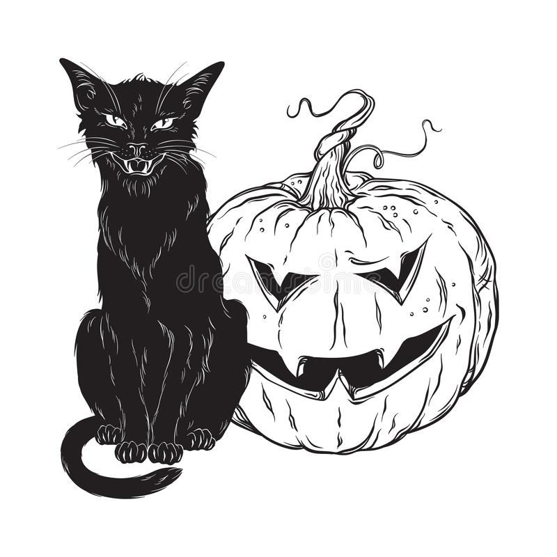Free Black Cat Sitting With Halloween Pumpkin Isolated Over White Background Vector Illustration. Witches Familiar Spirit Animal, Gothi Stock Photos - 125308263