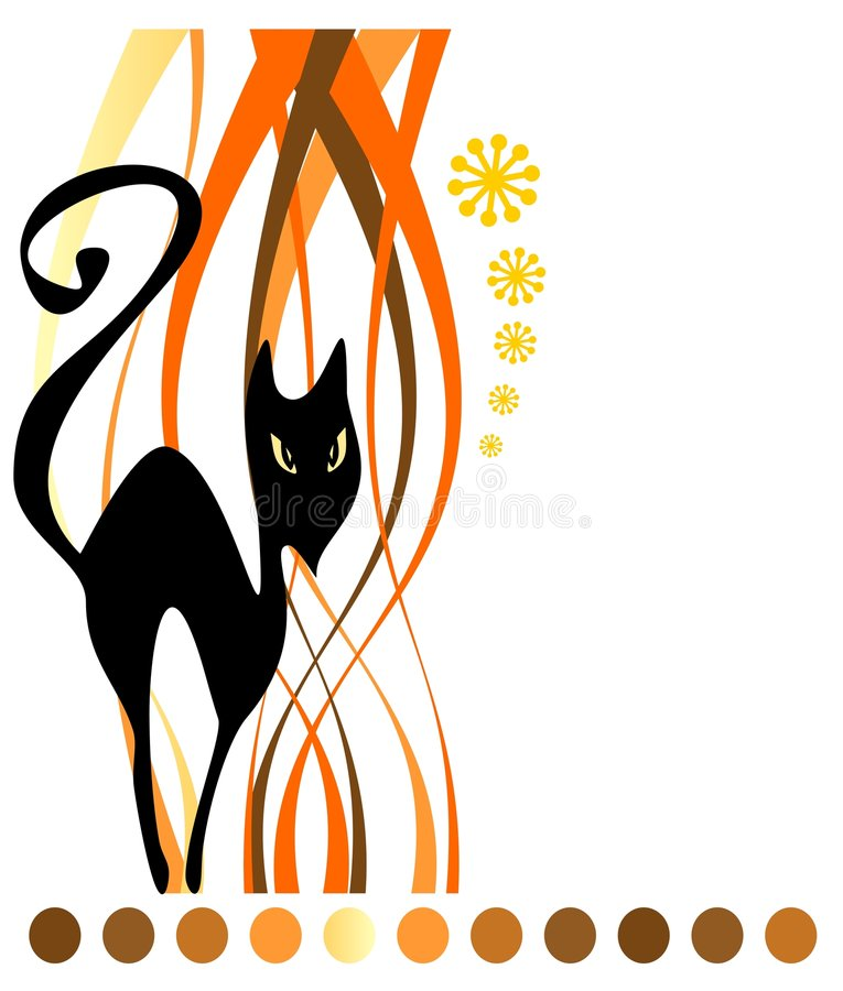 Download Black cat and strips stock vector. Image of attribute - 6074911